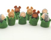 Little Critter in a Hedge Cozy // waldorf toy // mouse doll // mole miniature // natural table // mousie nest // woodland animal // CHC