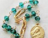 Chaplet - Ste Madeleine Emerald Green Crystal - 18K Gold Vermeil