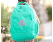 Monogrammed Backpack - Toddler Backpack - Back to School - Preschool Backpack - Personalized Backpack - Girls Lunchbox - Kids Mint Backpack