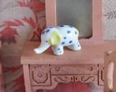 Vintage Antique Dollhouse Miniature Porcelain Toy Elephant, tiny miniature animal