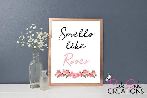 Smells Like Roses Bathroom Wall Art / Bathroom Wall Art / Funny ...