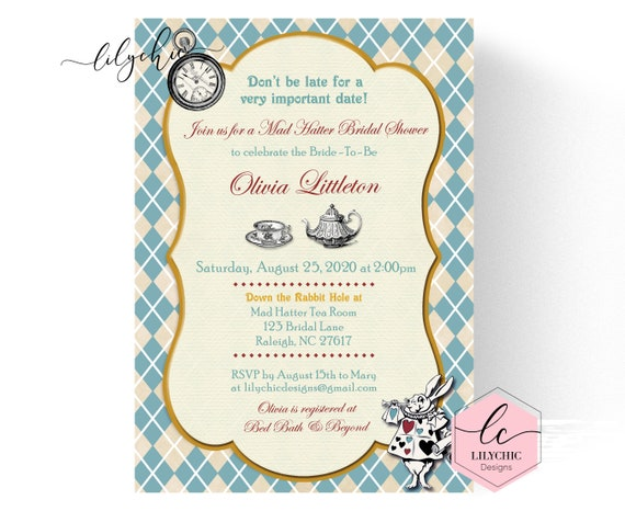 Mad hatter tea party invitation mad hatter bridal shower il570xn filmwisefo