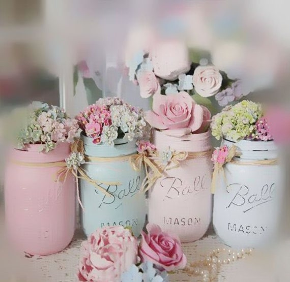 Shabby Chic Painted Mason Jar Centerpiece Decor Vase Wedding Bridal