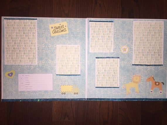 Baby Boy 12 X 12 Scrapbook Layout Premade Pages Baby Boy Layout