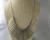 Silver Bar Bib Necklace Metal Tassels Pendant Chain Bib Necklace