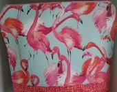 Large skinny flamingoes project bag perfect for knitting socks or crocheting similar projects.