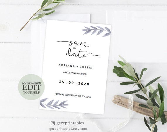 Save The Date Template Editable Wedding Template Printable Save The