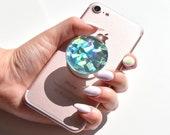 Holograficzny kryształ miętowy, diamentowy, opalizujący, turkusowy, Alabaster kalkomania/naklejka na popsockets, uchwyt do selfie, uchwyt na pierścień