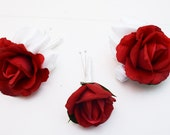 Reserved for Megan - Red Roses & Crystals Bridal Bouquet Bridesmaid Groom Groomsman Boutonniere Red Champagne Crystal Wedding