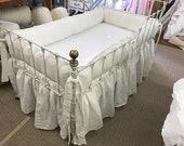 Balance Listing for Jennifer-Vintage White Washed Linen Crib Bedding-Tailored Bumpers-Gathered Crib Skirt