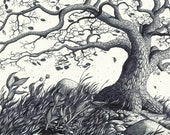 Hand Drawn Art Print - Oak Tree in the Autumn Wind, rocks and shrubbery (gyclee matted print)