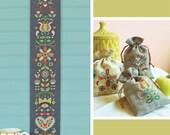 Folk Flowers - Satsuma Street - modern cross stitch bell pull pattern - Instant download PDF