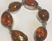 "ON SALE Baltic Amber Sterling Bracelet 7.5"" Honey Polish Poland 925 Silver Vintage Jewelry Southwestern Holiday Christmas Birthday Gift Grad"