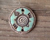 Stoneware pendant-connector, NATURAL, RUSTIC and EARTHY ceramic focal piece, handmade jewelry component