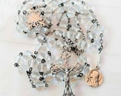 Rosary - Antique French Crystal Mary of Magdala - Sterling Silver