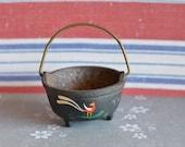 Vintage Dollhouse Miniature Cauldron Real Cast Iron, Halloween Witch Decoration
