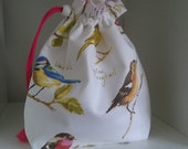 Garden birds drawstring cotton project bag perfect for knitting socks or crocheting similar projects.
