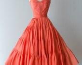 Vintage 1950s Dress - 50s Designer Nettie Rosenstein Silk Strapless Coral Party Dress With Full Skirt // Waist 26