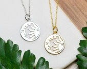 Sun and moon necklace   Celestial jewelry   Gold plated layering necklace   Gifts for her under 30   Delicate gold circle coin necklace  