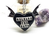 Release the Bats Black Heart Winged Necklace