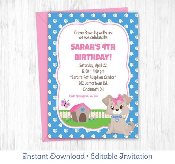 Pink Puppy Invitation