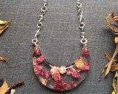 Rise Petal Moon Slice Necklace on Handmade Crystal Chain