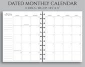 "July 2018 - Dec 2019 Dated Monthly Calendar Planner Inserts, Monday Start, MO2P ~ Big Happy Planner / 8.5"" x 11"""