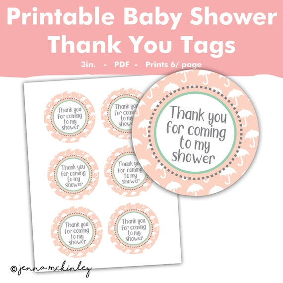 Printable Thank You For Coming To My Shower Umbrella Baby Or Bridal