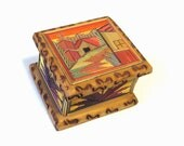 Mexican Folk Art Popote Straw Painting/ Popotillo Ring Box/ Vintage Mexico