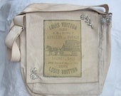 Woman's Canvas Dirty Bag, Over the Shoulder Bag, Vintage Louis Vuitton Print, LV Messenger, One of a Kind Bag, Louis Vuitton Print Bag