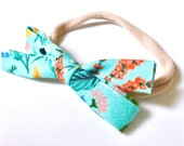 Rifle Paper & Co Aqua Blue Floral Bow Headband - Amalfi Herb Garden Mint - Baby Headband - Modern Baby Style - Bow Hairband - Baby Girl Gift