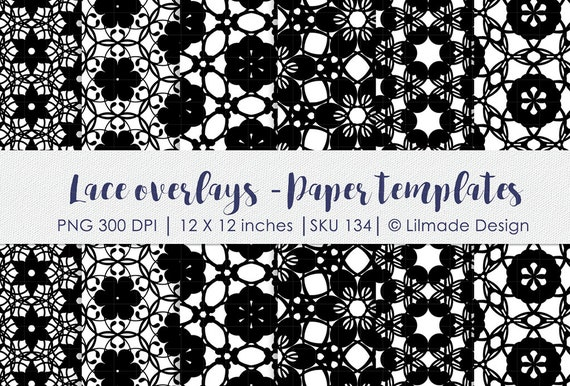Lace pattern, lace paper template, Photoshop overlay, damask ...