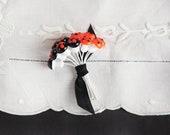 Miniature Halloween Mushrooms - One Dozen 12mm Orange and Black Spun Cotton Toadstools