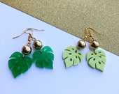 Mini Monstera Earrings