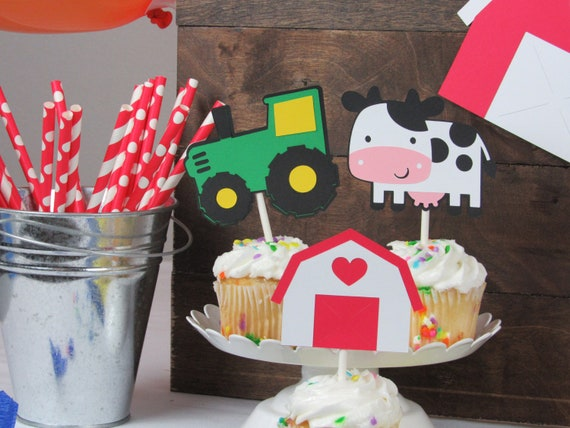 Barnyard Party Cupcake Toppers Barn Birthday Cows Tractors