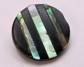 Wonderful Antique Black Composition Button ~ Inlay Bands of Iridescent Abalone Shell Mother of Pearl MOP ~ 3/4 inch 19mm ~ Grammys Buttons
