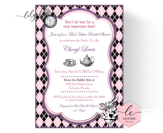 Mad hatter bridal shower invites printable mad hatter tea party il570xn filmwisefo