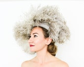 40s Beige Feather Hat | Ostrich Feather Hat | Voluminous Feather Hat
