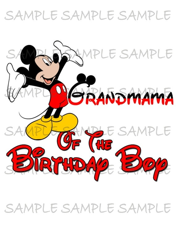 Grandmama Of The Birthday Boy Mickey Mouse Iron On IMAGE Ears Printable Clip Art Disney Shirt Party T Transfer Download