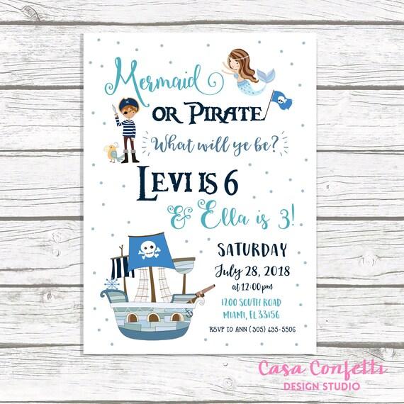 mermaid and pirate birthday invitation mermaid and pirate party