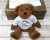 Personalised Teddy Bear with dinosaur tshirt - New Baby gift