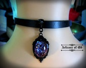 Dragons Breath Opal Choker, Black Leather Choker, Gothic Black Setting, Women and Girls Choker, Glass Opal