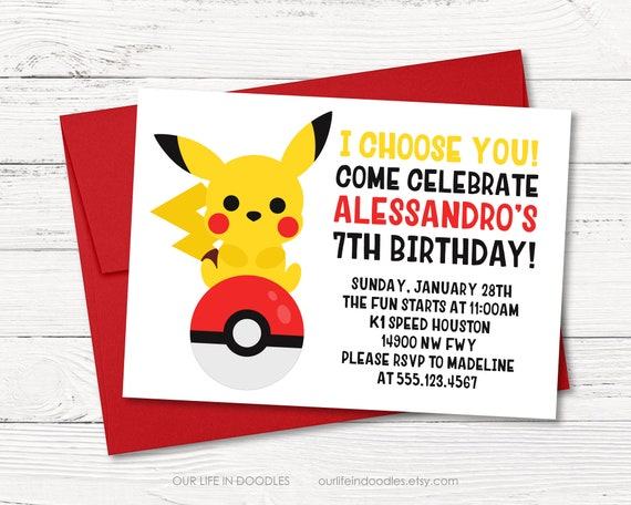 Pikachu Invitation Pokeball Pikachu Birthday Invitation Pokemon