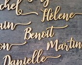 Wedding place cards Natural wood