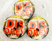 Disobey Punk Rock Skull Pin Back Button
