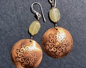 Mandala Swirl Long Dangle Earrings acid etched mixed metal domed copper disc earrings with purple mother of pearl, sterling silver ear wires