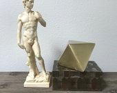 Vintage Italian Michelangelo replica statue of David, nude male, handmade stone