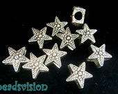 10/40 Spacer Metal Beads 10mm Star Color Antique Silver Module Beads # S274