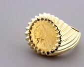 1909 INDIAN HEAD 2 and a Half Dollar Coin in 14K Yellow Gold Ripple Ring USA Men's