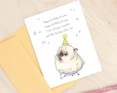 Backup Cake - funny birthday card with pug, cute happy birthday card, pug birthday card, funny card by Inkpug